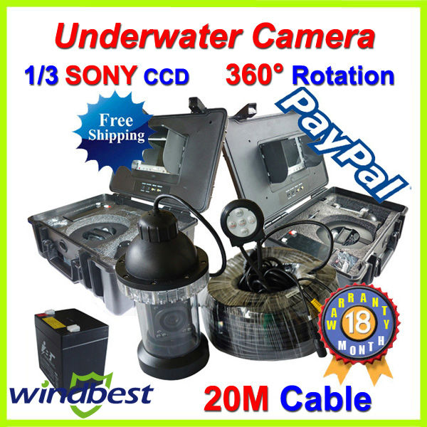 """CCTV PT Underwater Fishing Camera 1/3 SONY CCD 7"""" TFT LCD 20m Cable 18pcs IR/White LEDs Rotate 360 Degree ABS Plastic Case(China (Mainland))"""