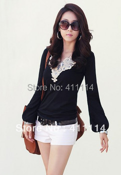 2015 new fashion plus size t shirt women clothing summer sexy tops tee clothes blouses t-shirts  V-neck lace lantern sleeve
