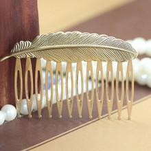 Fashion Retro vintage Comb Woman lady Feather portable Hair Combs Hairpins Headwear Headdress hair accessories for hair