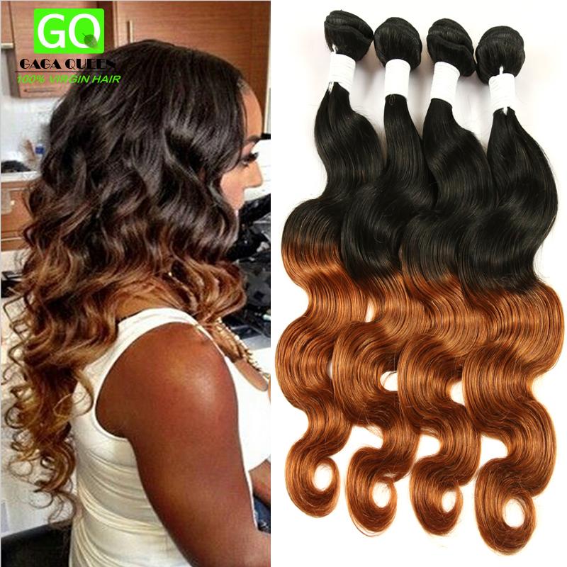 Гаджет  6A Gaga Queen Hair Brazilian Virgin Hair Body Wave Ombre Hair Extensions 3Pcs TwoTone 1b/30 Ombre Brazilian Hair Free Shipping None Волосы и аксессуары