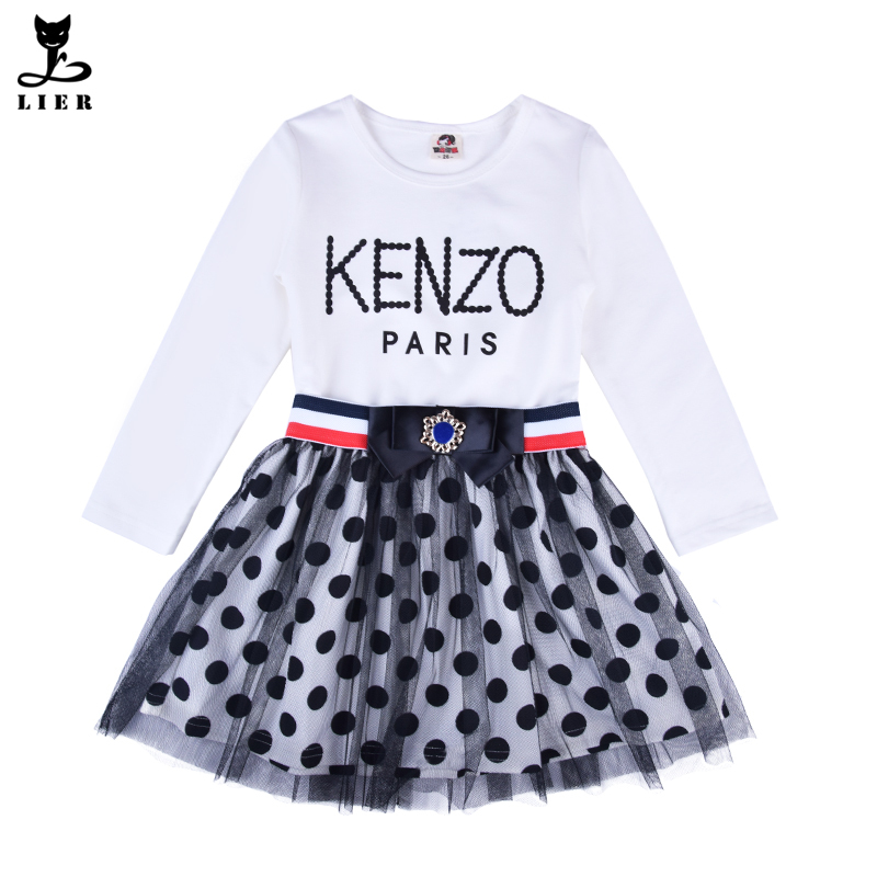Fashion Teenage Girls Clothes Kids Long Sleeve Cotton Spot Polka Dot Mesh Dresses With Sashes For Big Girls School Party Dress<br><br>Aliexpress