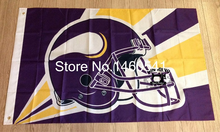 Minnesota Vikings Helmet Lighting Flag 3ft x 5ft Polyester NFL Minnesota Vikings Banner Size No.4 144*96cm QingQing Flag(China (Mainland))