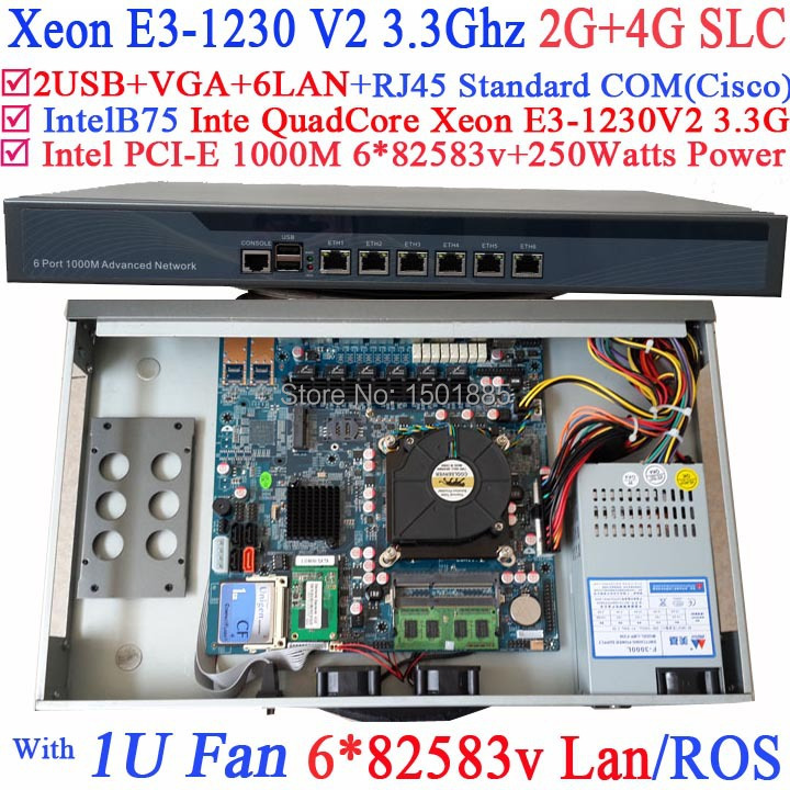 Cheap router firewall pc with 6 lan ports Inte Quad Core Xeon E3-1230 V2 3.3Ghz no graphic 2G RAM 4G SLC(China (Mainland))