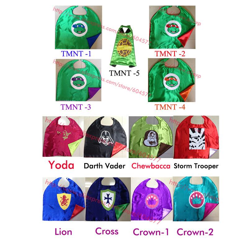 TMNT cape Teenage mutant ninja turtles kids cape and Star wars for Children Halloween Party Costumes(China (Mainland))