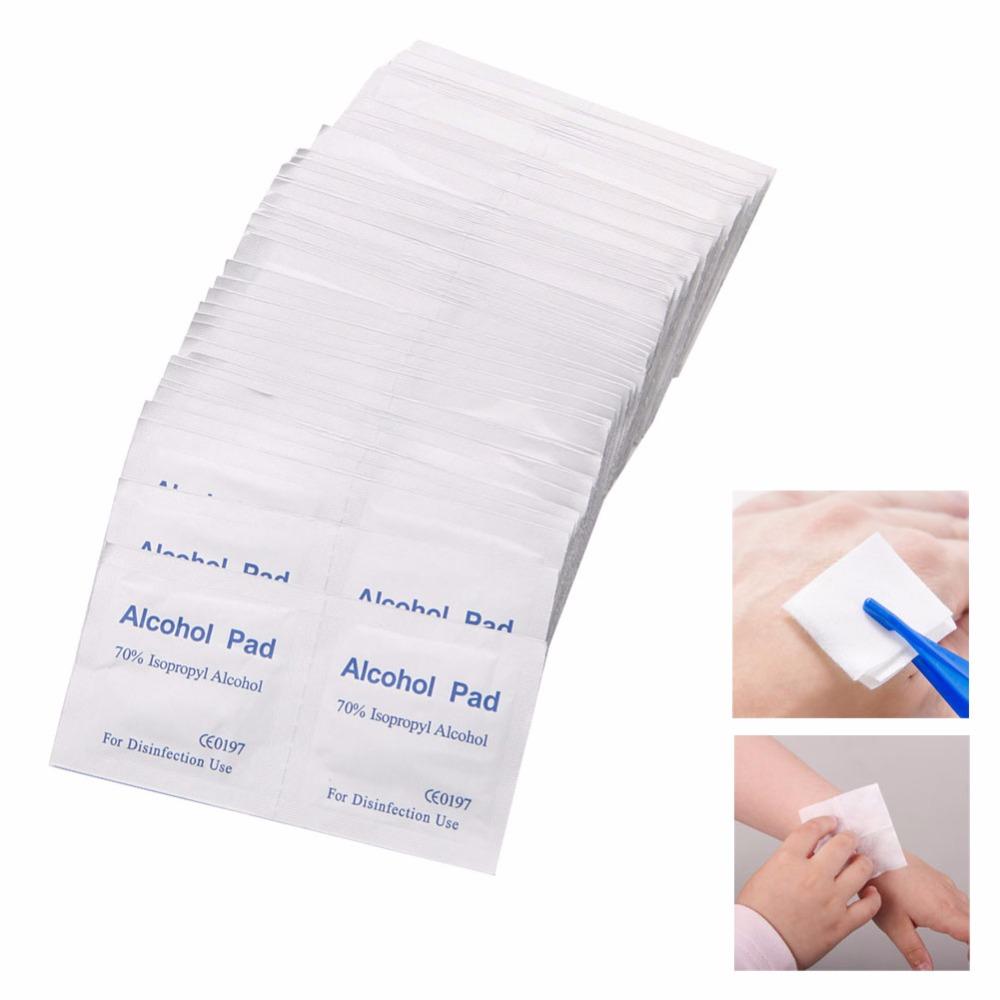 100 Pcs Alcohol Wipe Pad Swab Sachet Antibacterial Tool Cleanser