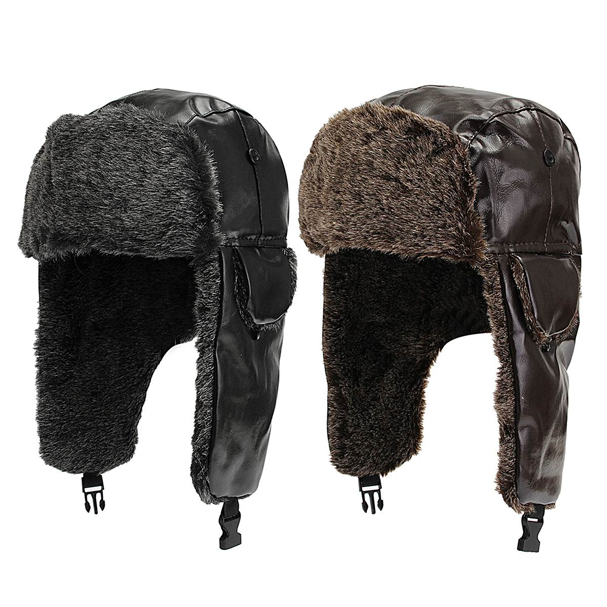 Men Warm Winter Earmuffs Leather Cap Lei Feng Cap Ear Protection Pilot Bomber Hats Proof Trapper Russian Hat with Ear Flap(China (Mainland))