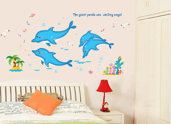 Dolphin Animal Cartoon Vinyl Wall Stickers For Kids Rooms