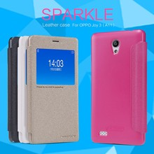 10pcs For OPPO Joy 3 A11 NILLKIN flip cover luxury Sparkle super thin protective Leather Case + Retailed Package