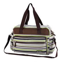 Hot selling print stripe diaper bags shoulder messenger large capacity multifunctional stroller mummy bag maternity nursing