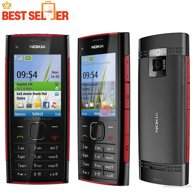 Original Unlocked X2 Original Nokia X2-00 Bluetooth FM JAVA 5MP Cell Phones Free Shipping(China (Mainland))