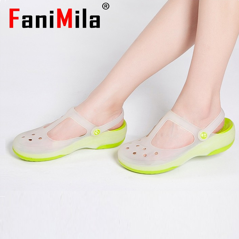women summer shoes mary jane sandals jelly shoe color garden flat sandals thick soles discoloration slippers P23530 size 36-40<br><br>Aliexpress