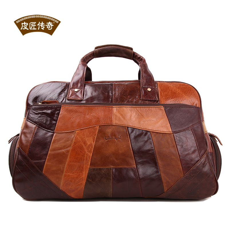 Free shipping brand 2014 portable men genuine leather travel bag mens duffle bag carry on luggage weekend handbag items TB71(China (Mainland))