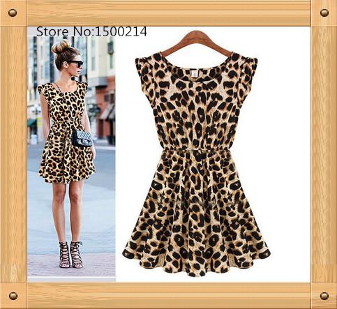 3pcs Sexy Party Dresses Fashion Short Sleeveless Party Club Elegant Leopard Midi Dress Women's Clothing(China (Mainland))