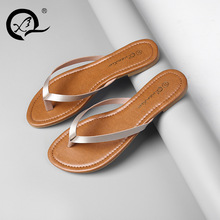 Buy women's casual big size 41 thong flip flop comfort soft leather sandals flats summer home shoes solid slippers sapatos sandalet for $18.02 in AliExpress store