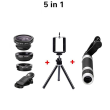 Buy 5in1 8X Telephoto Lens Optical Zoom Lenses fish eye Fisheye 0.67x Wide Macro lens Tripod Clip iphone 6 Samsung Huawei for $10.72 in AliExpress store