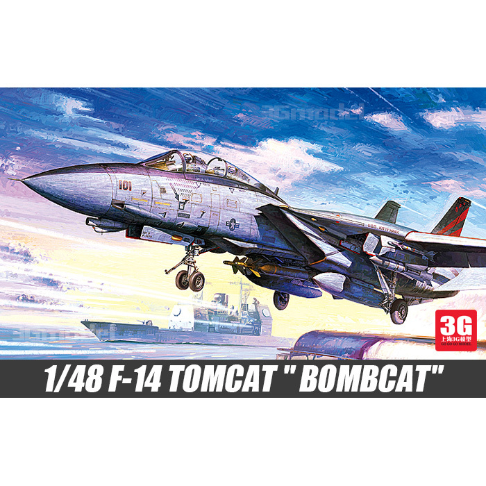ACADEMY scale model 1/48 scale aircraft 12206 F-14 TOMCAT BOMBCAT plastic assembly model kits scale airplane model building kits(China (Mainland))