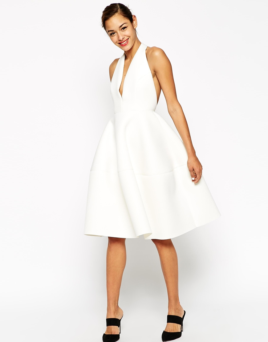 Turmec » short white halter neck dress