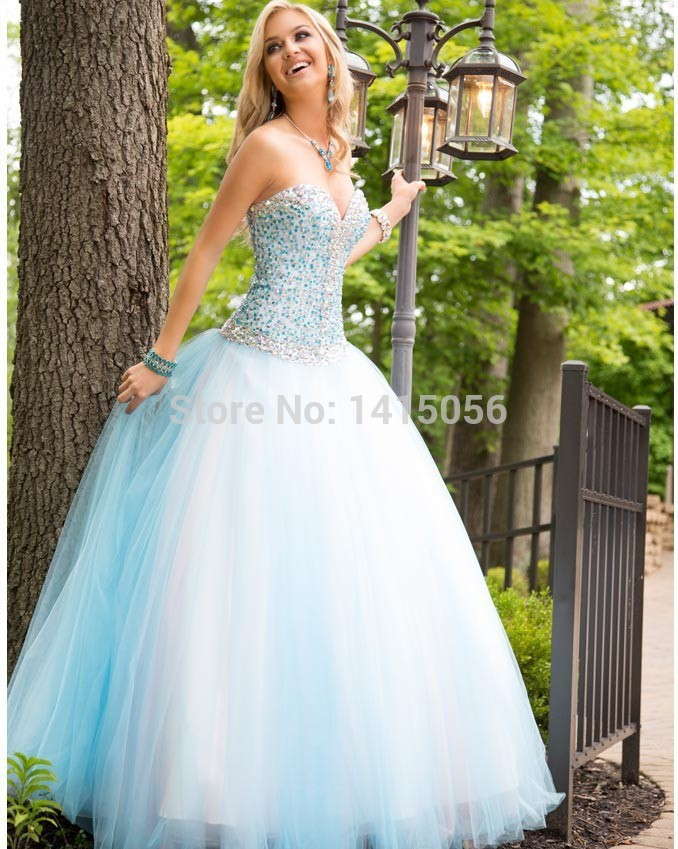 New fashion light sky blue ball gown crystal beading for Light blue and white wedding dresses