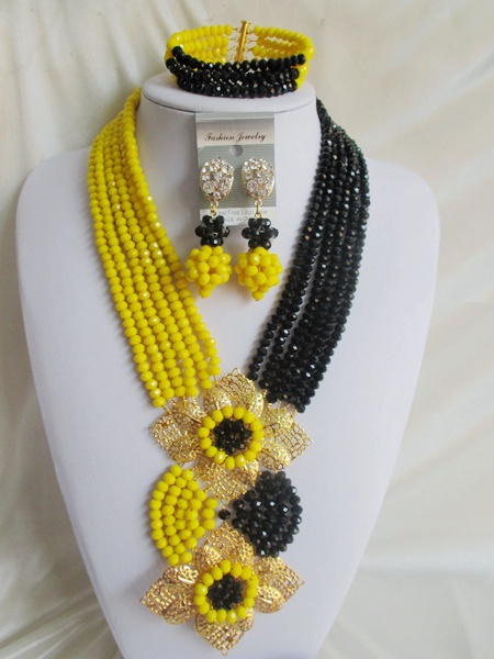 Fashion! women nigerian wedding african beads jewelry set crystal opaque yellow black ABD521(China (Mainland))