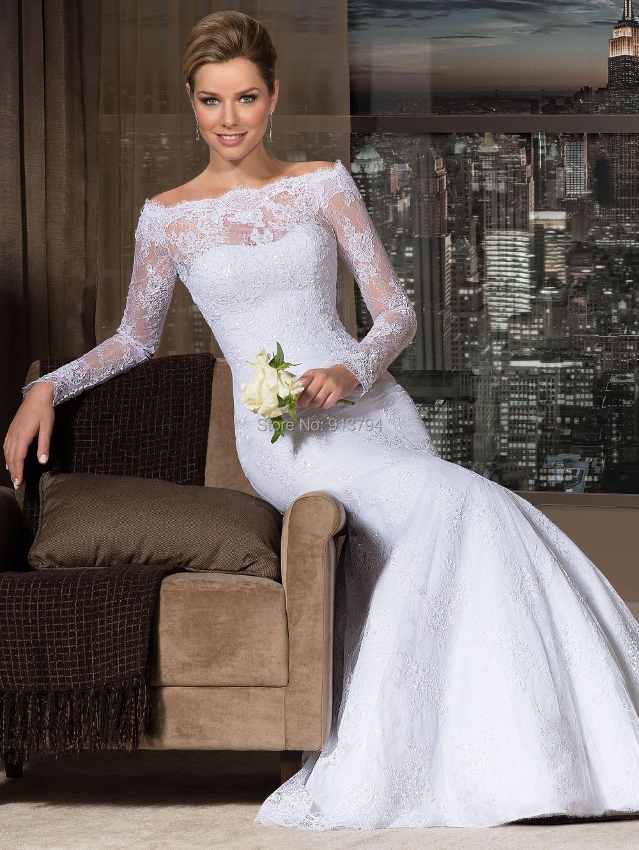 2015 new design off shoulder long sleeves lace dress bride for Vintage wedding dresses nyc