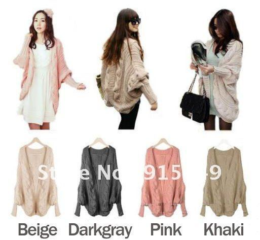 Women's Stylish Batwing Sleeve Slit Back Chunky Cardigan Wrap Cape Sweater