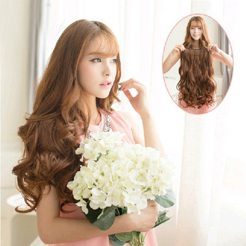 "Free Shipping New 29"" Women Ladies Long Curly Wavy 6 Clips In On Hair Extensions Full Head Top LX0063 Drop Shipping"
