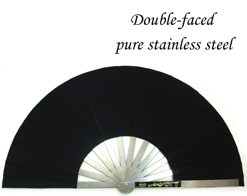 Black tai chi fan/stainless steel tai chi fan/double-faced/silk fanning/chinese martial arts fan/chinese kung fu<br><br>Aliexpress