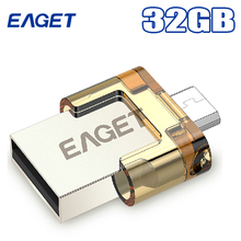 Original Eaget V8 Otg Usb Flash Drive 32GB Usb 2.0 & Micro Usb Double Plug Mini Smartphone Pen Drive Pass H2test Memory Stick