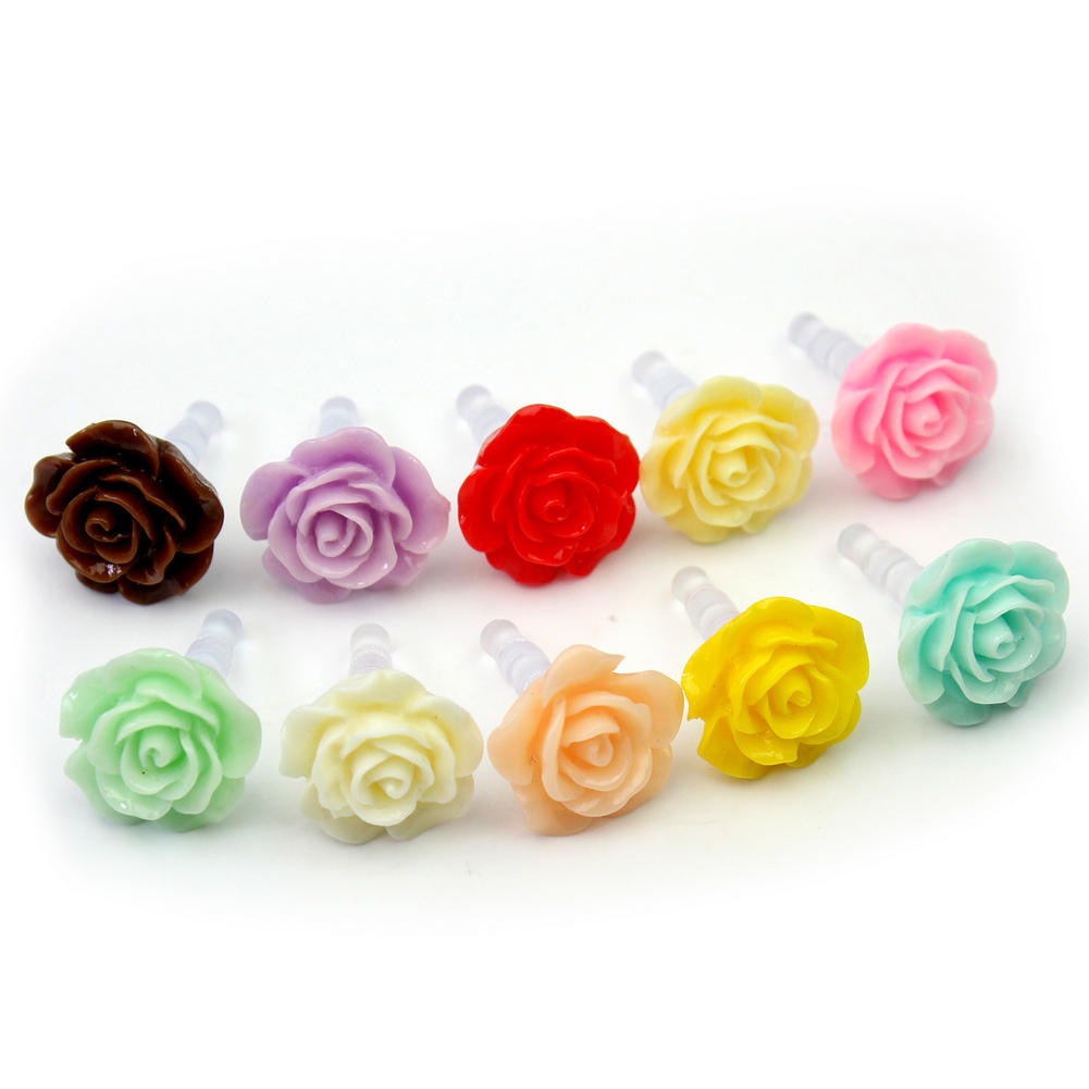3.5mm Hot sale Pretty Flower Mini Resin Plastic Anti Dust Cap Dock Cover For iPhone(China (Mainland))