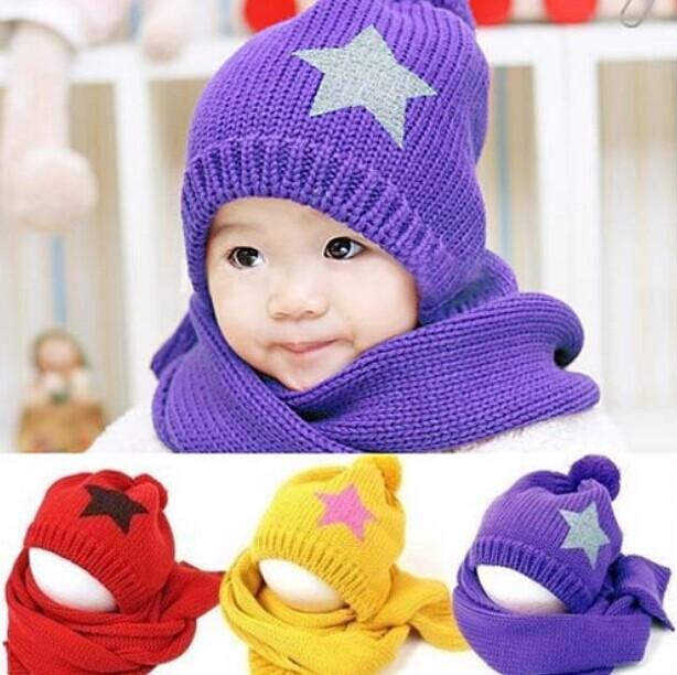 Зима корейский шапки младенцы шляпы мальчики девочки тепло шапочка 5 star шляпа + шарф комплект для дети в осень