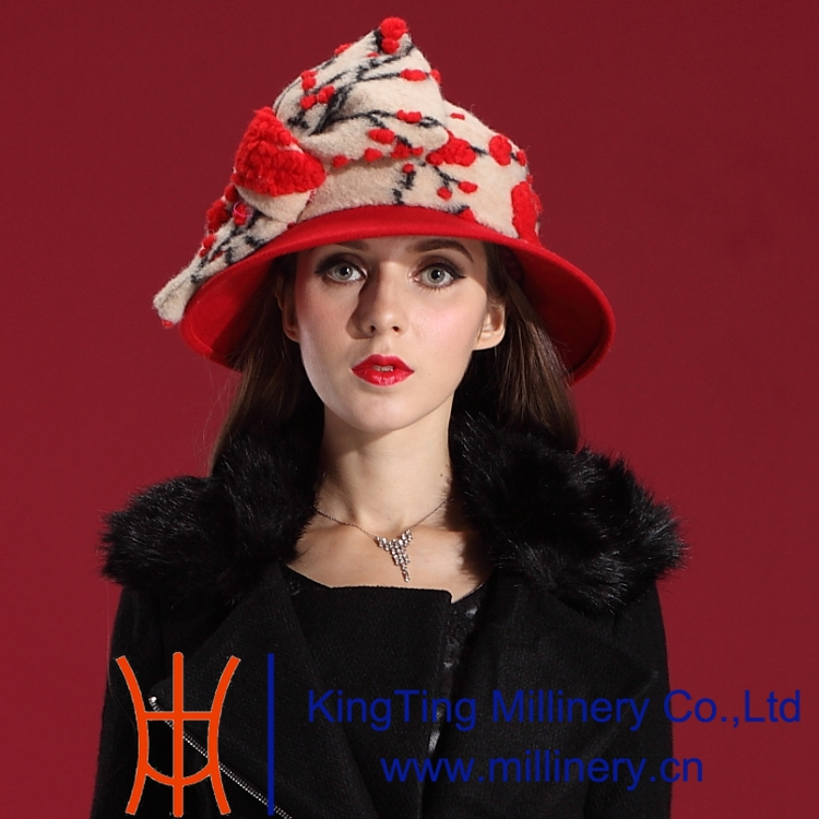 Autumn Winter Women Hats Enchanting Dress Wool Felt Hat Shawl Natural 100% Red Big Bowknot - Shop store