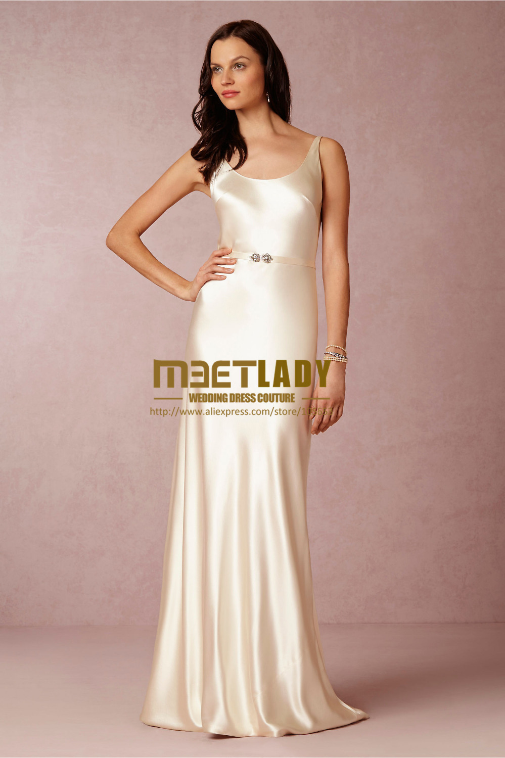 Customized made sexy mermaid scoop champagne long satin for Long silk wedding dress