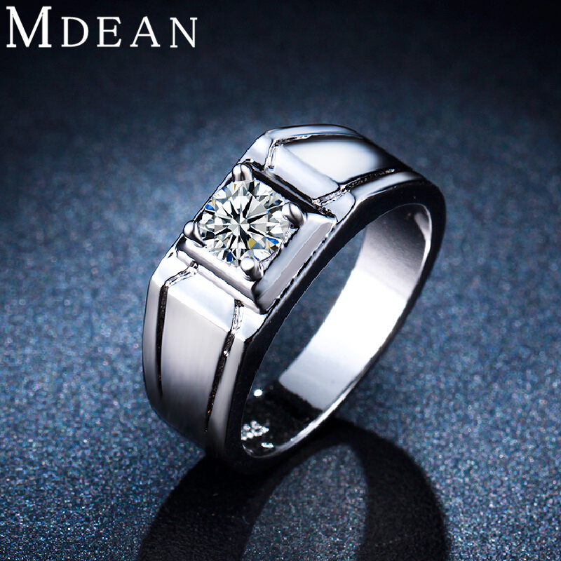 MDEAN White gold plated jewelry inlaid AAA Zircon CZ diamond Engagement Classic Round Wedding rings for women MSR236(China (Mainland))
