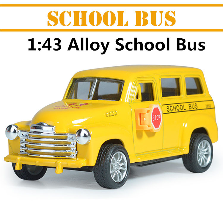 1:43 alloy car models, high simulation school bus with sound and light back to power,Children's educational toys free shipping(China (Mainland))