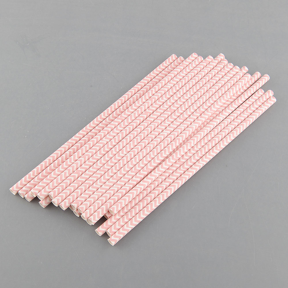 New Hot Environmental 25 PCS Chevron Striped Paper Drinking Straws For Wedding Birthday Bar Pub Supply