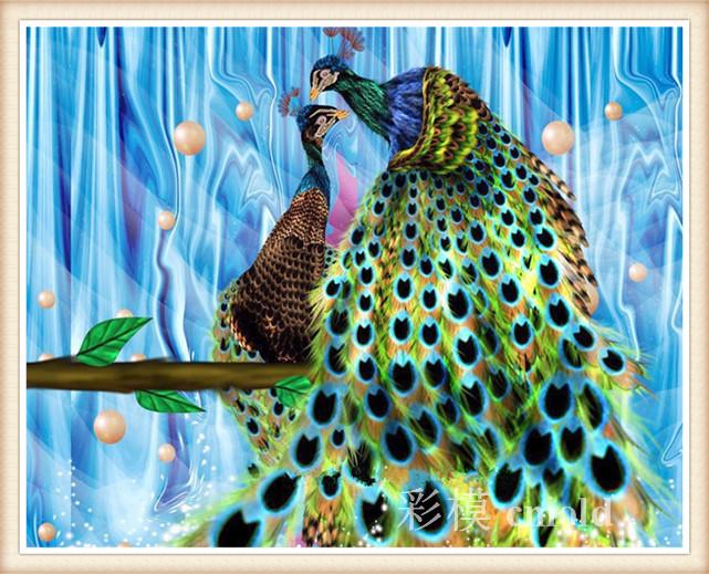 Hot Sale peacock embroidery stitch patterns counted cross stitch stick a diamond 25*20cm variety sizes 2738R(China (Mainland))