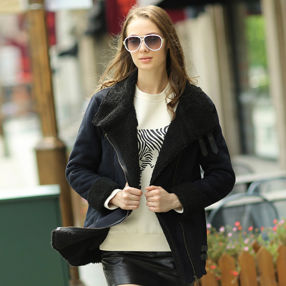 Veri Gude Winter 2014 New Women's British Style Medium-down Faux Leather Suede Coat