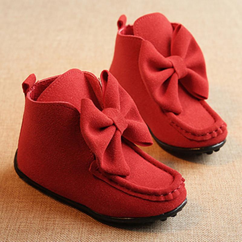 2016 Autumn Winter nubuck Leather Children warm boots fashion bowtie Princess Girl shoes Kids short Boots antislip flats(China (Mainland))