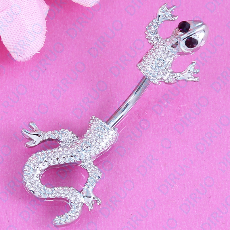 Гаджет   New Arrival Jeweled Lizard Style Belly Button Ring  Body Piercing Jewelry Navel Piercing 316L Stainless steel free shipping None Ювелирные изделия и часы