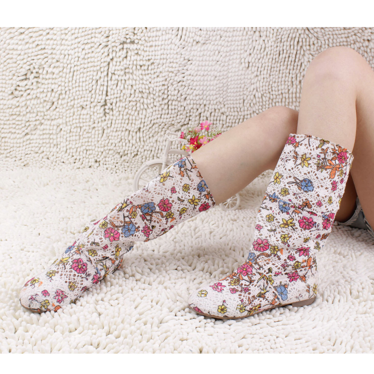 2015 fancy summer cool boots knitted cutout net bootscolorful custom made for european spring(China (Mainland))