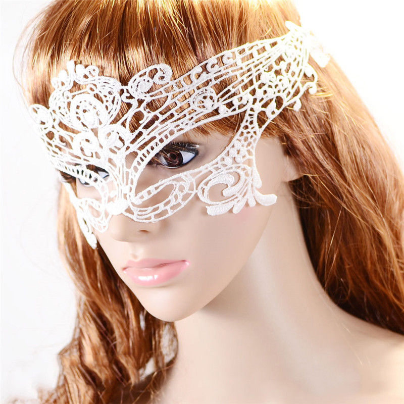 3PC Ladies Anonymous Mask Venetian Carnival White Sexy Lady Lace Mask Cutout Eye Mask For Masquerade Party Fancy Dress Costume(China (Mainland))