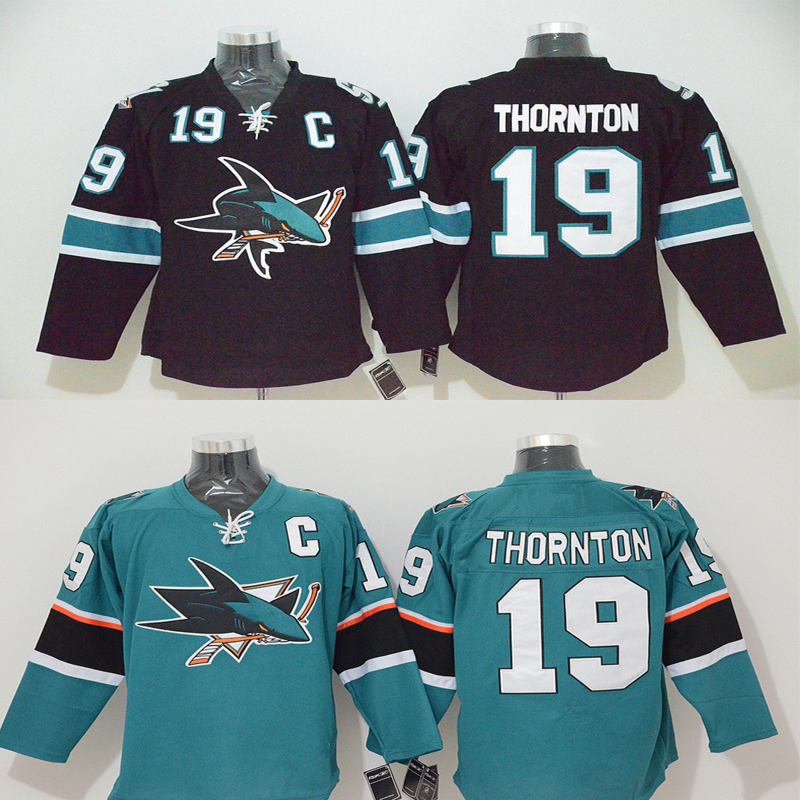 Joe Thornton Jersey Men's San Jose Sharks #19 Joe Thornton Home Black Green Stitched Embroidery Logo Ice Hockey Jerseys(China (Mainland))
