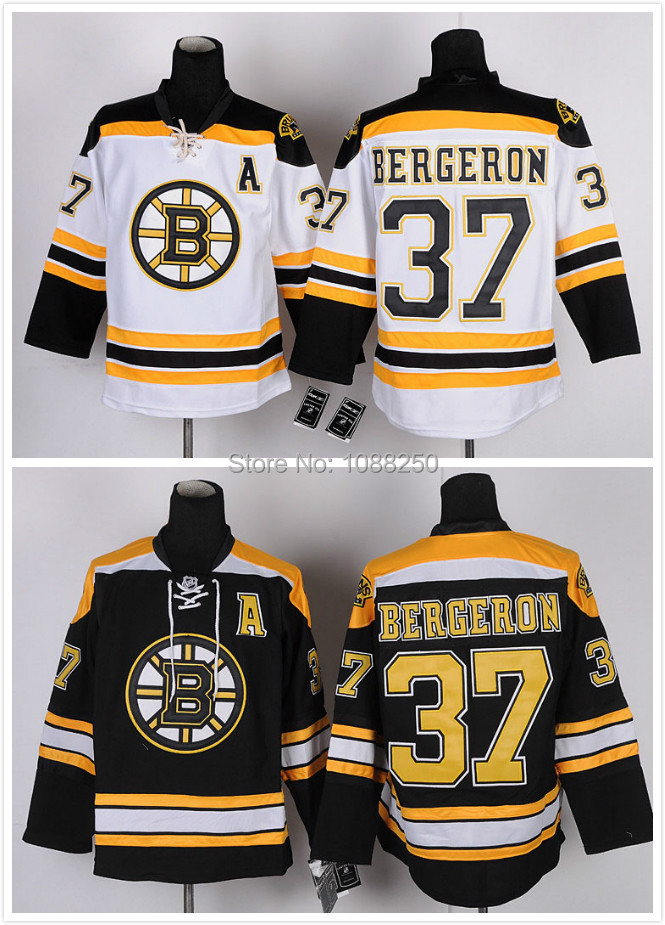 Finals Best NWT Sewing 37 Patrice Bergeron Jersey Boston Bruins Black White All Size Bruins Jersey For Fans Free Shipping(China (Mainland))