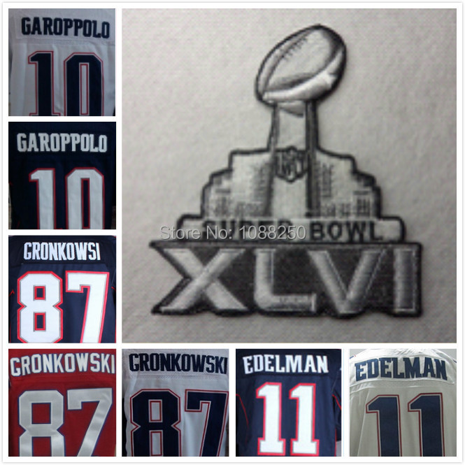 New England 87 Rob Gronkowski Super Bowl Jerseys 11 Julian Edelman Football Jersey 2015 XLIX SuperBowl Patch(China (Mainland))