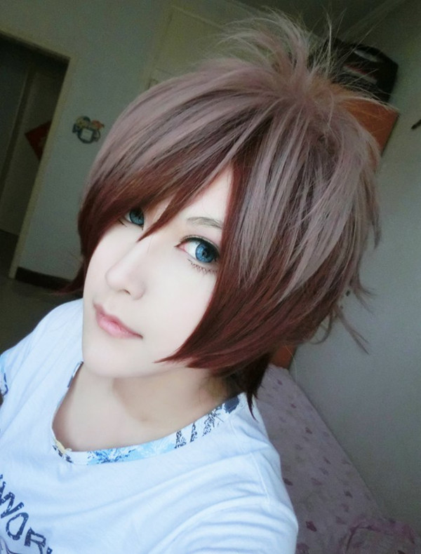 Free Shipping Popular Msn Style 12 Inches Short Brown Ombre High Quality Man Cosplay Wig<br><br>Aliexpress