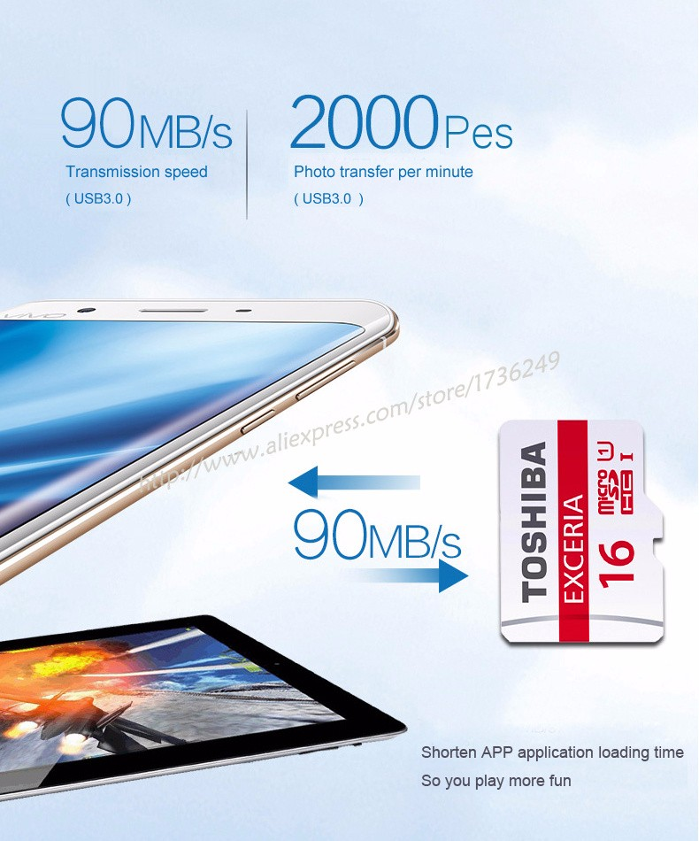 TOSHIBA Memory Card SDXC U3 128GB 64GB UHS-I SDHC 32GB 16GB U1 Up 90MB/s UHS-I 4Micro SD Card Flash Memory Card for Smartphone