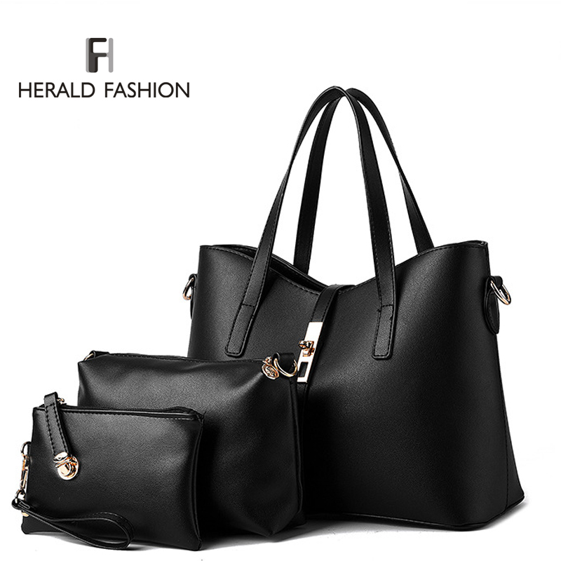 3 Pcs/ Set Women Handbags PU Leather Women Totes Bag Ladies Designs Bag Handbag+Messenger Bag+Purse<br><br>Aliexpress