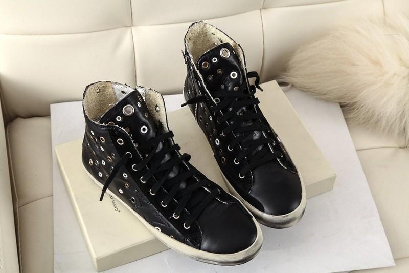 2015 100% Genuine Leather Golden Goose Black flats shoes Fashion GGDB Superstar Zip High Top Women Men Shoes Scarpe Uomo