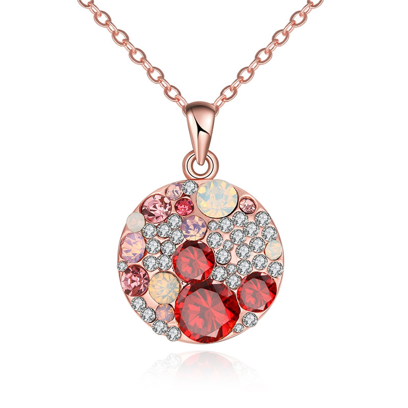 European Trendy Style Rose Gold Plated Fashion Jewelry CZ Diamond Necklace For Women Multi Colored Round Pendant Collier QA0003(China (Mainland))