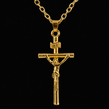 2015 Hot men necklace! Wholesale Free Shipping 24k Gold Necklace Top Quality Necklace & Jesus  Cross Pendant Cool Men's jewlery